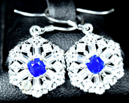 21.90Carats Natural top blue afghanite ,CZ 925 Silver earings