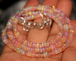 38 Crt Natural Ethiopian Welo Dyed Pink Opal Necklace 51