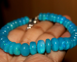 80 Crt Natural Ethiopian Welo Dyed Blue Opal Bracelet 171