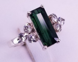 Natural and Beautiful Tourmaline  Ring with CZ in Silver 925