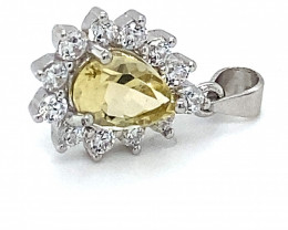 Canary Yellow Tourmaline .80ct White Gold Finish Solid 925 Sterling Silver