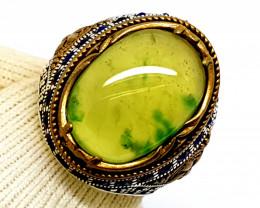 Natural Green Grossularite Garnet 925 Sterling Silver Ring