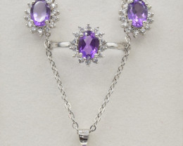 Natural  Amethyst, Lavender Color Set box (Ring, Earring,Necklace and Penda