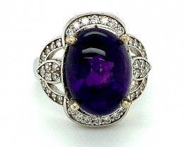 Amethyst 6.57ct Platinum Finish Solid 925 Sterling Silver Halo Ring    Size