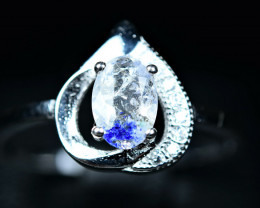 7.50Carats fluorescent Natural wernerite scapolite  925 Silver ring