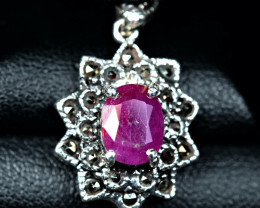 17.10Carats Natural top color afghan Ruby  925 Silver Pendant