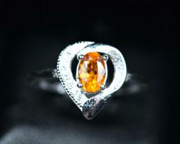 6.60 Carats Natural top tajik Clinohumite  925 Silver ring