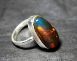 Premium Natural Clear Blue Red AAA++ Amber .925 Sterling Silver Ring #7.5 f