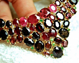 396.0 Tcw. Garnet, Ruby, Tourmaline 925 Silver, 14k Gold Necklace