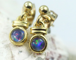 Gem Opal Triplet set in Gold Plate  drop swing Earring  GJC 224