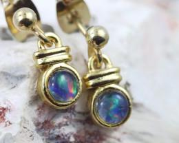 Gem Opal Triplet set in Gold Plate  drop swing Earring  GJC 226