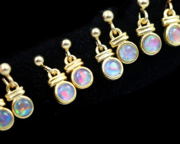 4 xGem Opal Triplet set in Gold Plate  drop swing Earring  GJC 229