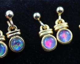 4 xGem Opal Triplet set in Gold Plate  drop swing Earring  GJC 230