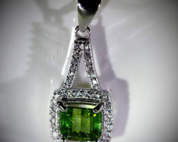 Green Tourmaline 1.25ct White Gold Finish Solid 925 Sterling Silver Pendant