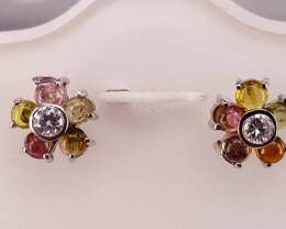Natural Tourmaline Cabochon and CZ Ear studs.
