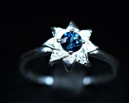 8.70Carats Heated Natural top blue clean Sapphire 925 Silver ring
