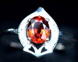 9Carats Carats Natural top color spessertite garnet 925 Silver ring