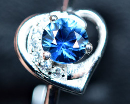 8.40Carats Heated Natural top blue clean Sapphire 925 Silver ring