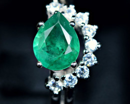 17.70Carats Natural precious emerald  ,CZ 925 Silver ring