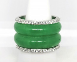 Jade and Zircon Ring 53.50 TCW