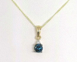 Blue and White Diamond Pendant 0.25 TCW- 9kt. Gold