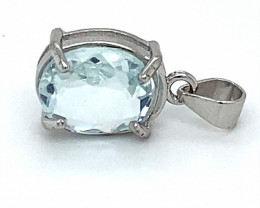 Aquamarine 1.40ct White Gold Finish Solid 925 Sterling Silver Pendant