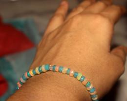 24 Crt Natural Welo Blue & White Faceted Opal Bracelet 167