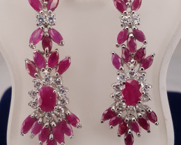 Natural Ruby with CZ  Earring.