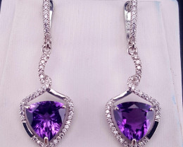 Natural Amethyst and CZ Earring.