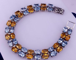 Natural Topaz and Citrine Bracelet.
