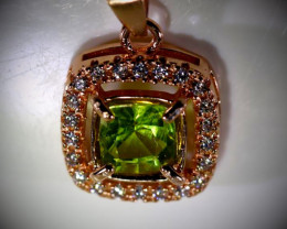 Peridot .70ct Rose Gold Finish Solid 925 Sterling Silver Pendant