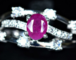 22.60Carats Natural precious top tajiki Ruby  925 Silver ring