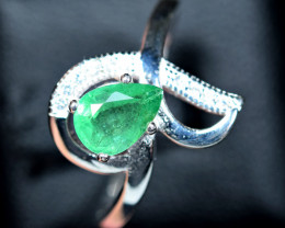 8.60Carats Natural top Emerald ,CZ 925 Silver Ring Size-8