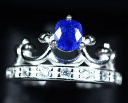 21.10Carat Natural top blue rare afghanite ,CZ 925 Silver Ring size-8