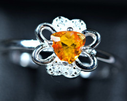8.47Carats Natural top Clinohumite  925 Silver Ring size-8