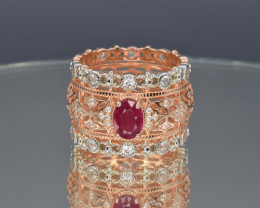 Natural Ruby , Cz and Silver Ring(pink Gold Coated)