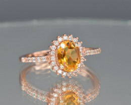 Natural Citrine Ring with Cubic Zirconia and Silver925 Ring (Pink Gold Coat
