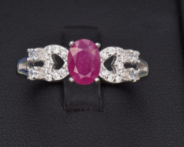 Natural Ruby ring  with Cubic Zirconia and Silver
