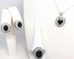 Natural Sapphire and Zircon Set 11.00 TCW