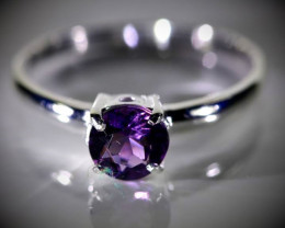 Amethyst .57ct Platinum Finish Solid 925 Sterling Silver Ring