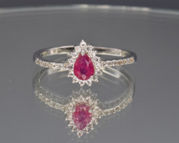Natural Ruby , White Topaz and Silver Ring