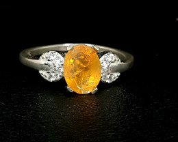 9 Carat fire opal 925 Silver Ring with cz, 8x6x4mm.