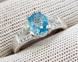 Natural Blue Zircon 18.10 Carats 925 Starling Silver CZ Ring N86