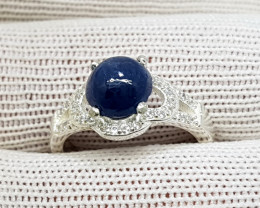 Natural Blue Sapphire 19.00 Carats 925 Starling Silver CZ Ring N87