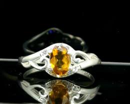 10.00 Carat rare multicolor yellow sphene/titanite 925 Silver Ring,  6x3x3m