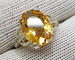 Natural Yellow Citrine 15.40 Carats 925 Starling Silver CZ Ring I83