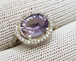 Natural Purple Amethyst 11.30 Carats 925 Starling Silver CZ Ring I84