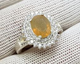 Natural Fire Opal 23.90 Carats 925 Starling Silver CZ Ring I85