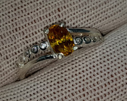 Natural Fire Sphene 10.10 Carats 925 Starling Silver CZ Ring I86
