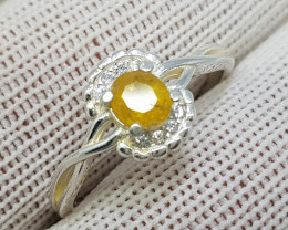 Natural Yellow Sapphire 10.30 Carats 925 Starling Silver CZ Ring I88
